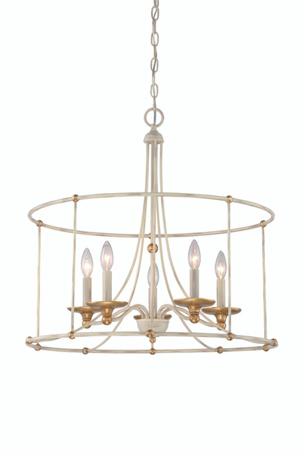 Minka Lavery 5 Light Chandelier in Farmhouse White with Gilded Gold Leaf Finish