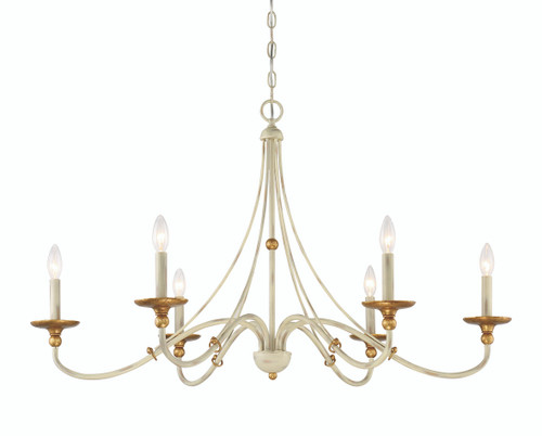 Minka Lavery 6 Light Chandelier in Farmhouse White with Gilded Gold Leaf Finish