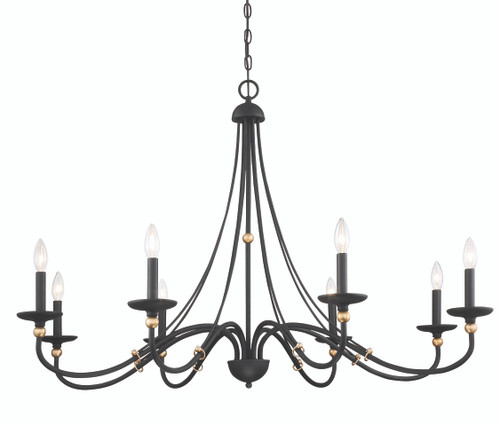 Minka Lavery 8 Light Chandelier in Sand Coal with Skyline Gold Leaf Finish