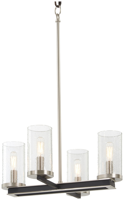 Minka Lavery 4 Light Pendant / Semi Flush in Coal With Brushed Nickel Finish
