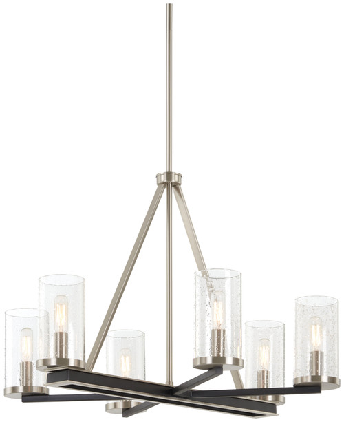 Minka Lavery 6 Light Chandelier in Coal With Brushed Nickel Finish