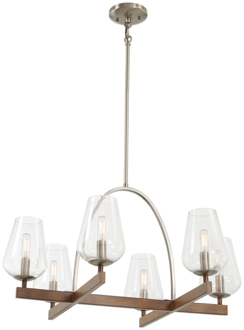 Minka Lavery 6 Light Chandelier in Koa Wood With Pewter Finish