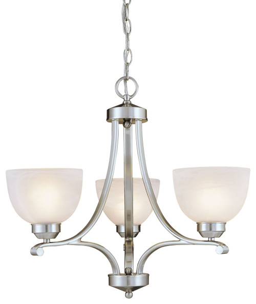 Minka Lavery Paradox 3 Light Mini Chandelier in Brushed Nickel Finish