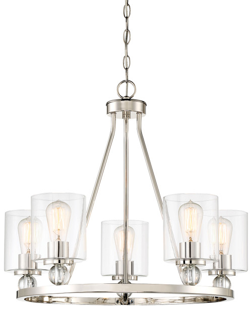 Minka Lavery Studio 5 5 Light Chandelier in Polished Nickel Finish