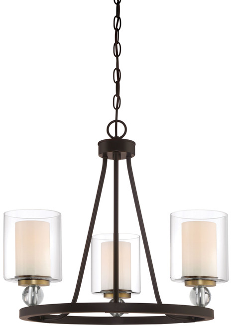 Minka Lavery Studio 5 3 Light Mini Chandelier in PaInterior Bronze With Natural Brush Finish