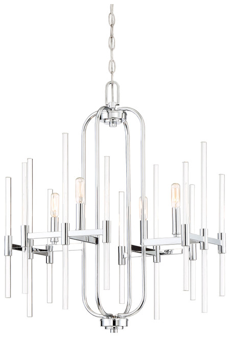 Minka Lavery Pillar 4 Light Chandelier in Chrome Finish