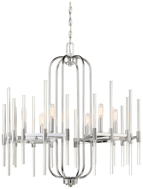 Minka Lavery Pillar 6 Light Chandleier in Chrome Finish