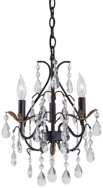 Minka Lavery 3 Light Mini Chandelier in Castlewood Walnut With Silver Highlights Finish
