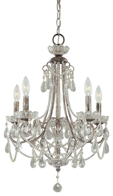 Minka Lavery 5 Light Mini Chandelier in Distressed Silver Finish