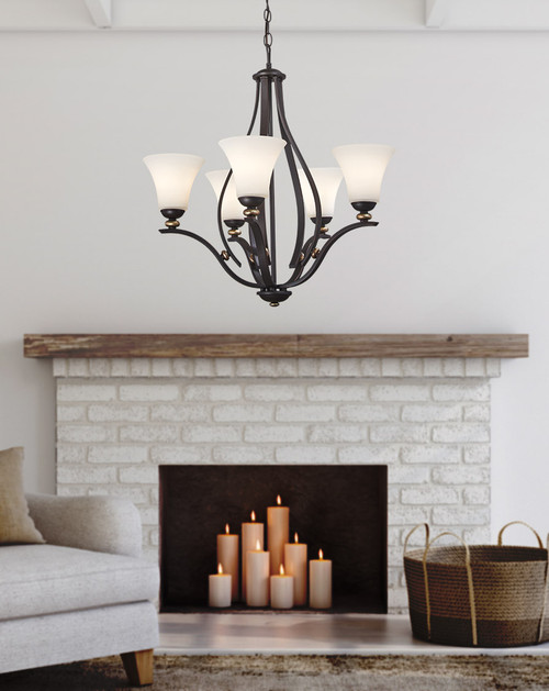 Minka Lavery Shadowglen 5 Light Chandelier in Lathan Bronze With Gold Highlights Finish