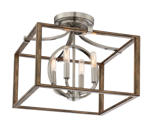 Minka Lavery Country Estates 4 Light Semi Flush in Sun Faded Wood With Brushed Nickel Finish