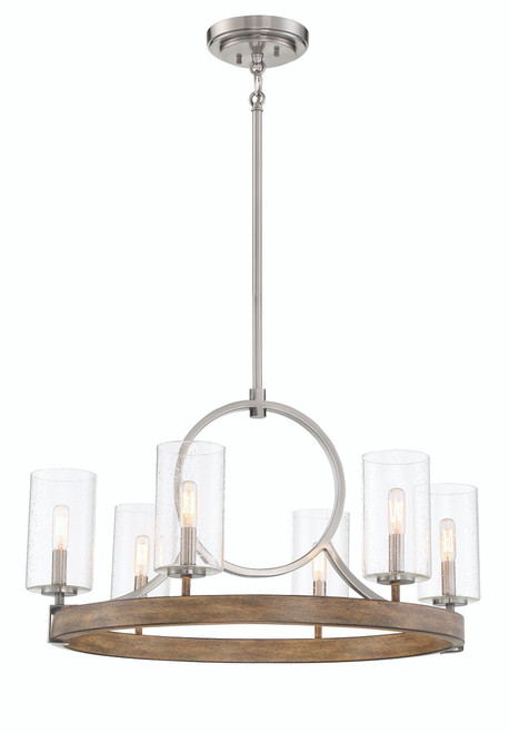 Minka Lavery Country Estates 6 Light Chandelier in Sun Faded Wood With Brushed Nickel Finish
