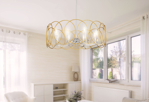 Minka Lavery Chassell 8 Light Chandelier in PaInterior Honey Gold With Polished Nickel Finish