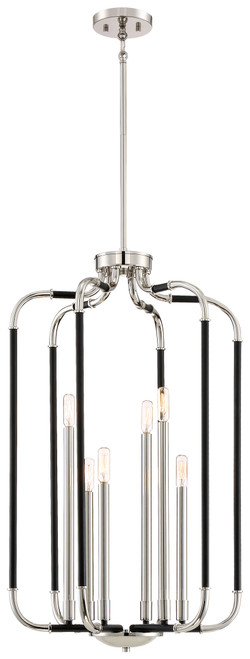 Minka Lavery Liege 6 Light Pendant in Coal With Polished Nickel Highlights Finish