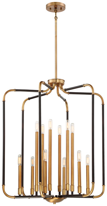 Minka Lavery Liege 12 Light Pendant in Aged Kinston Bronze With Brass Highlights Finish