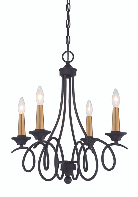 Minka Lavery La Courbe 4 Light Chandelier in Coal With Antique Brass Finish