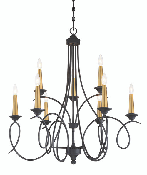 Minka Lavery La Courbe 9 Light Chandelier in Coal With Antique Brass Finish