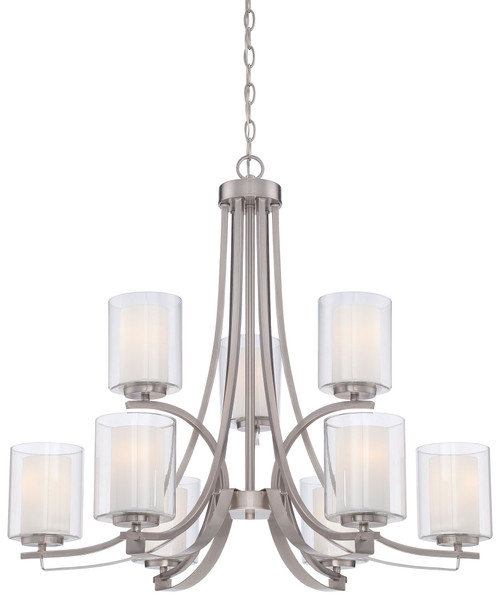 Minka Lavery Parsons Studio 9 Light Chandelier in Brushed Nickel Finish