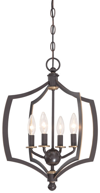 Minka Lavery Middletown 4 Light Mini Chandelier in Downton Bronze With Gold Highlights Finish