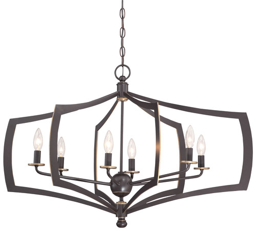 Minka Lavery Middletown 6 Light Chandelier in Downton Bronze With Gold Highlights Finish