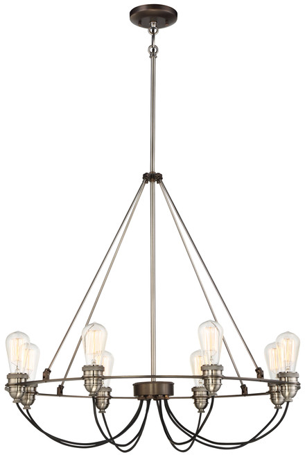 Minka Lavery Uptown Edison 8 Light Chandelier in Harvard Court Bronze With Pewter Finish