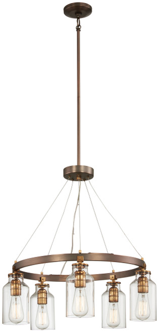 Minka Lavery Morrow 5 Light Chandelier in Harvard Court Bronze With Gold Highlights Finish