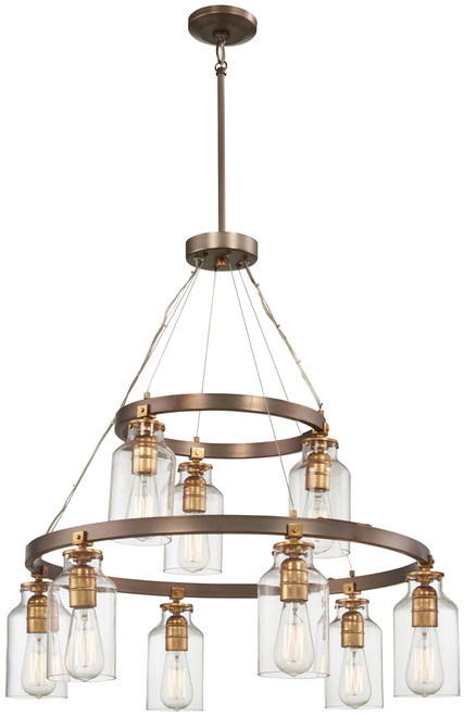 Minka Lavery Morrow 9 Light Chandelier in Harvard Court Bronze With Gold Highlights Finish