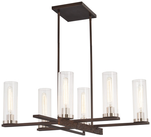 Minka Lavery Maddox Roe 6 Light Chandelier in Iron Ore With Gold Dust Highlights Finish