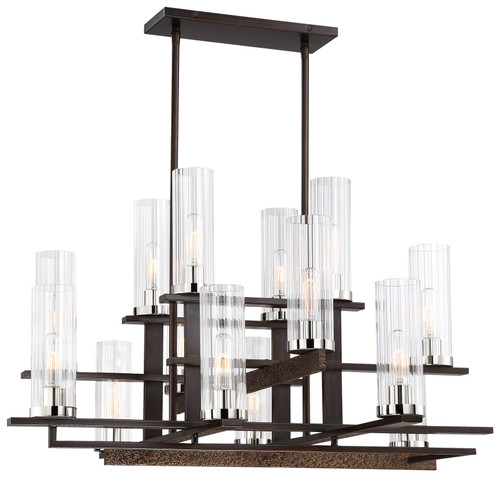 Minka Lavery Maddox Roe 14 Light Chandelier in Iron Ore With Gold Dust Highlights Finish
