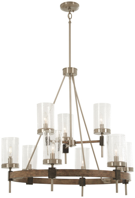 Minka Lavery Bridlewood 9 Light Chandelier in Stone Grey With Brushed Nickel Finish