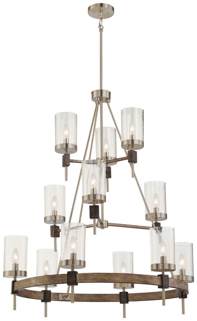Minka Lavery Bridlewood 12 Light Chandelier in Stone Grey With Brushed Nickel Finish