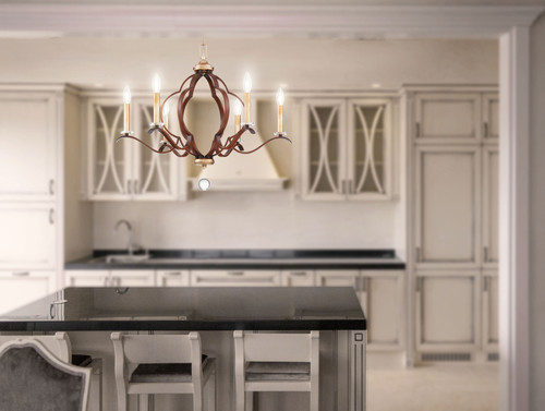Minka Lavery Ava Libertine 6 Light Chandelier in Pale Gold With Distressed Bronze Finish