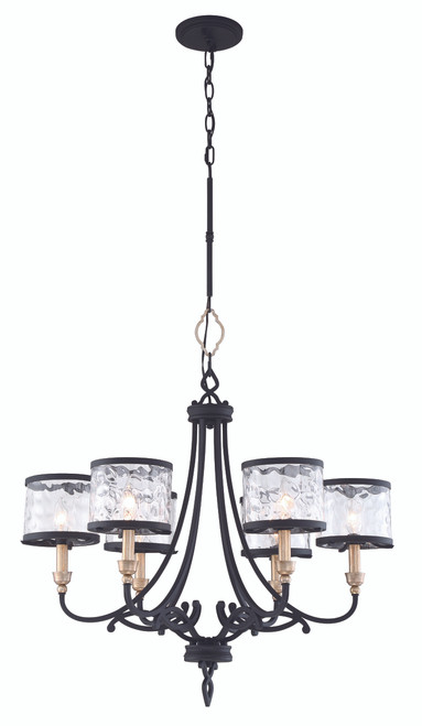 Minka Lavery Wyndmere 6 Light Chandelier in Sand Coal With Gold Highlights Finish