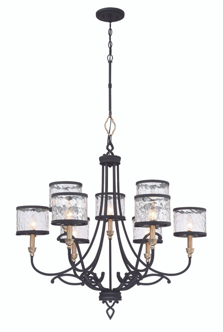 Minka Lavery Wyndmere 9 Light Chandelier in Sand Coal With Gold Highlights Finish