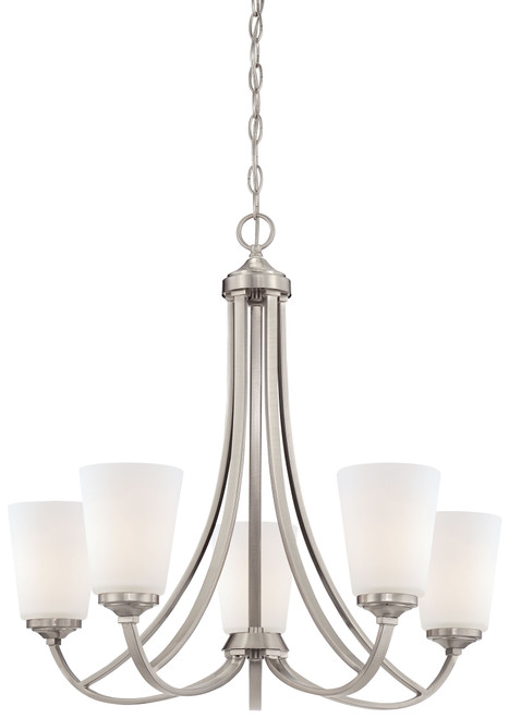 Minka Lavery Overland Park 5 Light Chandelier in Brushed Nickel Finish