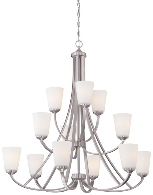 Minka Lavery Overland Park 12 Light Chandelier in Brushed Nickel Finish