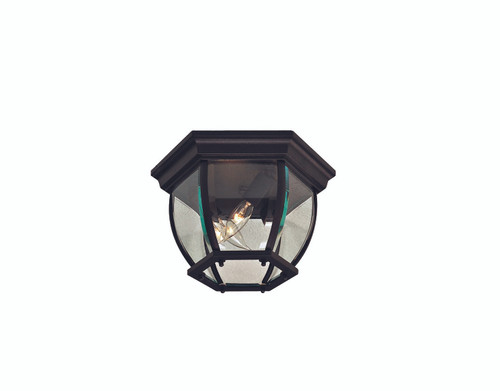 Minka Lavery 3 Light Outdoor Flush Mount in Coal Finish
