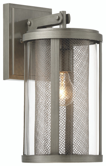 Minka Lavery 1 Light Outdoor Wall Mount in PaInterior Brushed Nickel Finish
