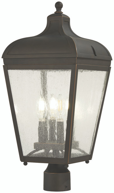 Minka Lavery Marquee 4 Light Post Mount in Oil Rubbed Bronze With Gold Highlights Finish