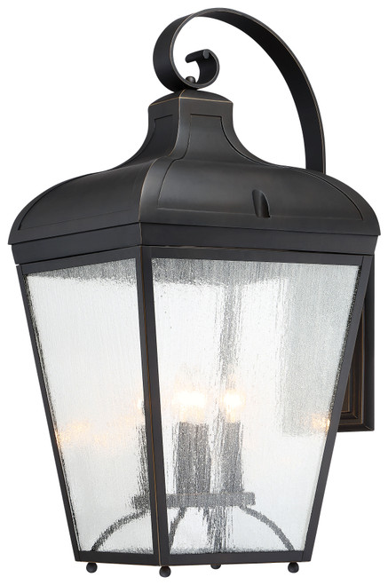 Minka Lavery Marquee 4 Light Outdoor Wall Mount in Oil Rubbed Bronze With Gold Highlights Finish