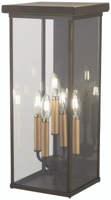Minka Lavery Casway 5 Light Pocket Lantern in Oil Rubbed Bronze With Gold Highlights Finish