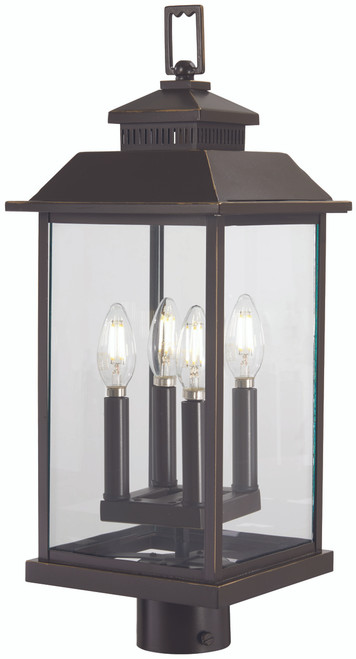 Minka Lavery Miner'S Loft 4 Light Post Mount in Oil Rubbed Bronze With Gold Highlights Finish