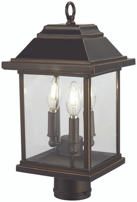 Minka Lavery Mariner'S Pointe 3 Light Post Mount in Oil Rubbed Bronze With Gold Highlights Finish