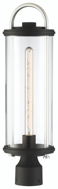 Minka Lavery Keyser 1 Light Post Mount in Coal With Silver Accent Finish