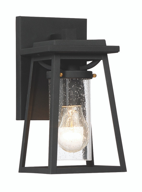Minka Lavery Lanister Court 1 Light Outdoor Wall Mount in Coal With Gold Finish