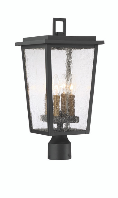 Minka Lavery Cantebury 4 Light Outdoor Post Mount in Coal With Gold Finish