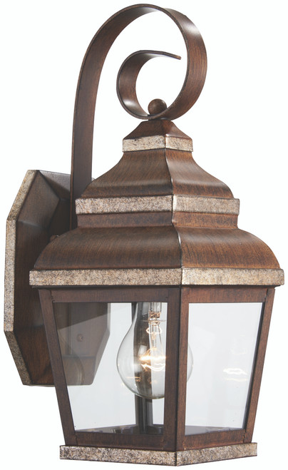 Minka Lavery Mossoro 1 Light Outdoor Wall Mount in Mossoro Walnut With Silver Highlights Finish