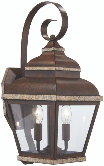 Minka Lavery Mossoro 2 Light Outdoor Wall Mount in Mossoro Walnut With Silver Highlights Finish