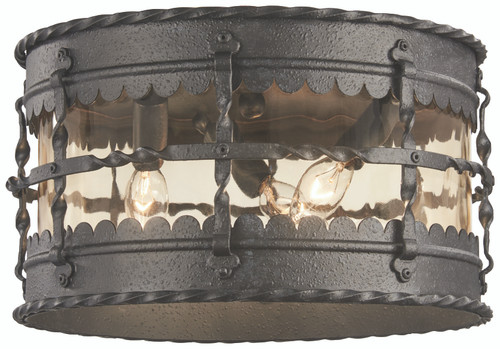 Minka Lavery Mallorca Pl 3 Light Outdoor Flush Mount in Spanish Iron Finish