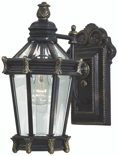 Minka Lavery Stratford Hall 1 Light Outdoor Wall Mount in Heritage With Gold Highlights Finish